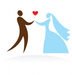 wedding people silhouettes vector image vector image