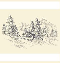 winter landscape mountains view vector image