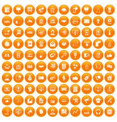 100 data exchange icons set orange vector