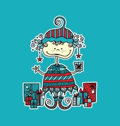 Christmas elf with presents aqua vector