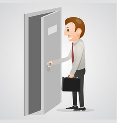 Office man opening a door vector