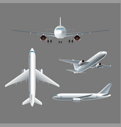 airplane side front and top view isolated vector image