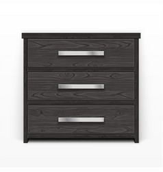 Wooden chest of drawers black vector