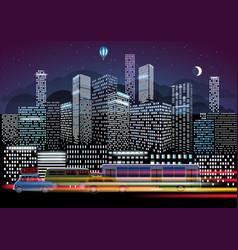 City traffic and night illumination modern city vector