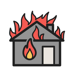 Fire consuming house vector
