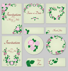 Collection greeting cards with stylized gentle vector