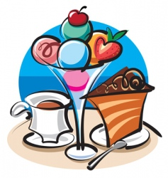 Ice cream and cake vector