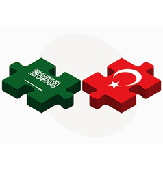 Saudi arabia and turkey flags in puzzle vector