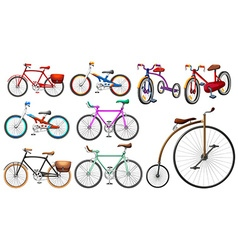 Bike set on white vector