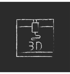 Three d printer drawn in chalk vector