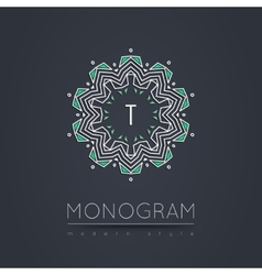 Elegant linear abstract monogram logo design vector