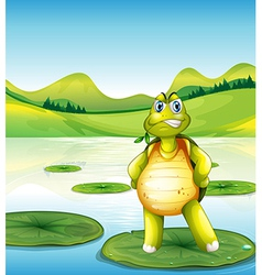 A turtle at the pond standing above a waterlily vector