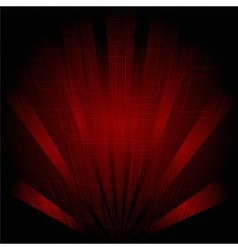 Abstract technology dark red background with rays vector image