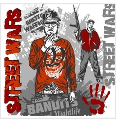 Bandits with guns and design elements - set vector image vector image