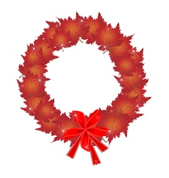 Christmas wreath of red maple leaves and bows vector