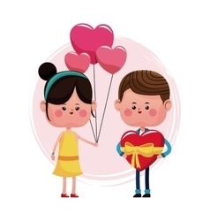 Couple loving valentine day and balloons choclate vector