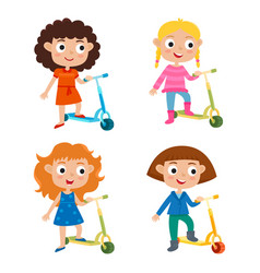 Cute concept of little girls vector