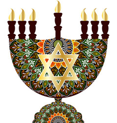 drawing of a menorah with round floral lace vector image