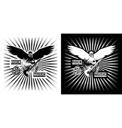 Eagle chopper motorcycle and electric black white vector
