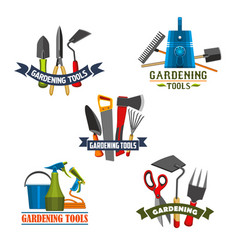 Gardening tools and agriculture equipment icon vector