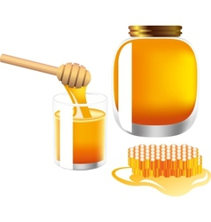 Glass and bank of honey vector