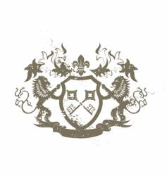 grunge heraldic shield vector image