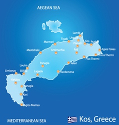 Island of Kos in Greece map vector image