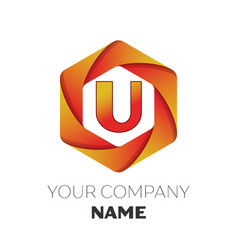 Letter u logo symbol on colorful hexagonal vector