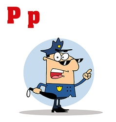 Police officer with letter cartoon vector image vector image