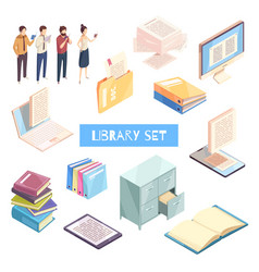 reading isometric icons set vector image vector image