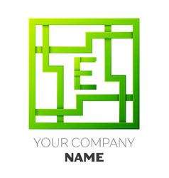 Realistic letter e symbol in colorful square maze vector