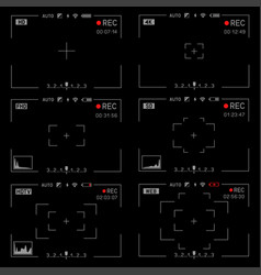 Rec camera viewfinder set vector