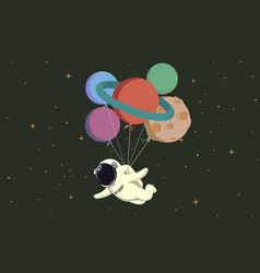 spaceman flying with balloons like a planets vector image vector image