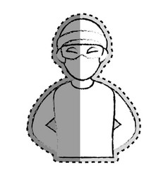 sticker monochrome blurred of criminal hacker vector image vector image