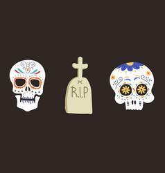 Style skull face dia de los muertos symbol vector
