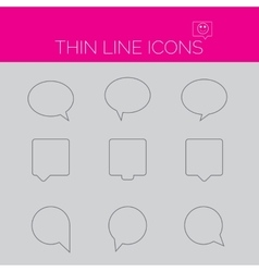 thin line art icons - speech bubble set vector image
