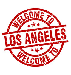 Welcome to los angeles red stamp vector