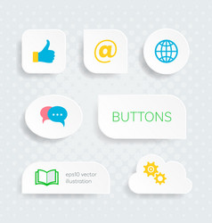 White web buttons with multimedia icons vector