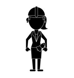 Woman with megaphone work helmet pictogram vector