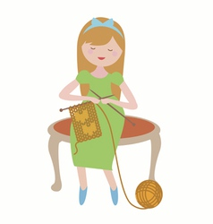 Young girl with knitting vector