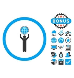 Globalist flat icon with bonus vector