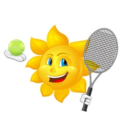 cartoon sun is playing tennis vector image