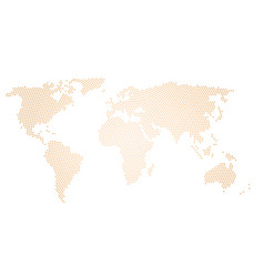 Black halftone world map of small dots in radial vector