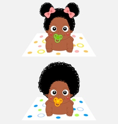 African baby boy and girl vector