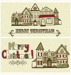 2 Christmas postcards vector image