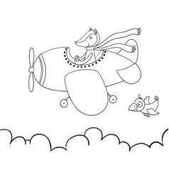 Cute cartoon fox flying on airplane awesome vector