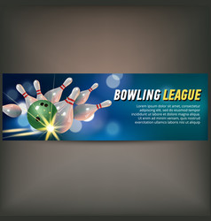 Bowling horizontal banner with bowling champ club vector