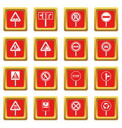Different road signs icons set red vector