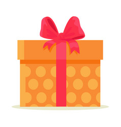 Package wrapped in colorful paper with orange dots vector