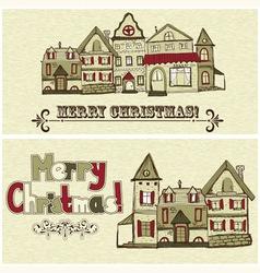 2 Christmas postcards vector image
